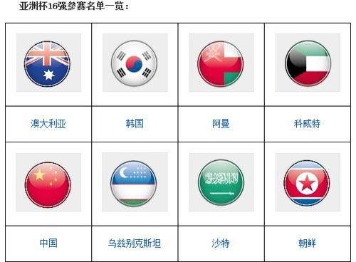 2015年亚洲杯16队名单
