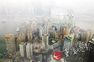 顶俯瞰解放碑和朝天门-西部第一高楼之巅 6月起可看重庆夜景图片