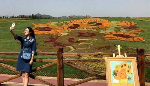 《向日葵》巨幅花草画亮相秦皇岛