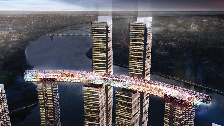 刷新了此类建筑最高的提升高度. 位於朝天门两江交汇处的重庆地标图片