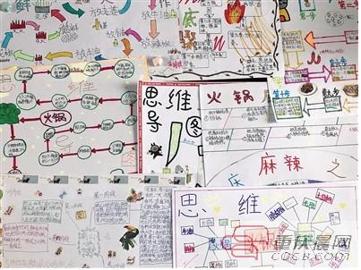 学生们制作的关於火锅的思维导图.