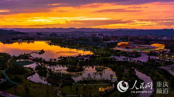 重庆梁平双桂湖:湿地润城夜色璀璨