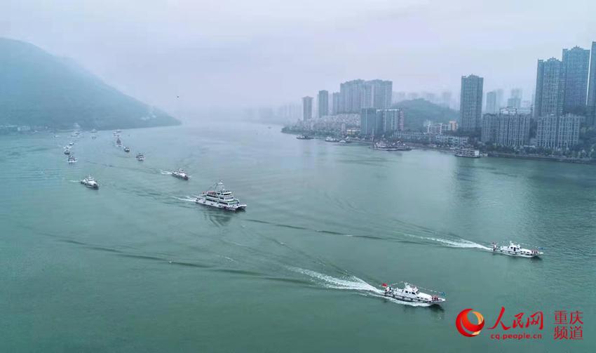 11月15日,,长江干线水上连系搜救演习在重庆涪陵区黄旗船埠水域进行。交通运输部长江航务打点局供图