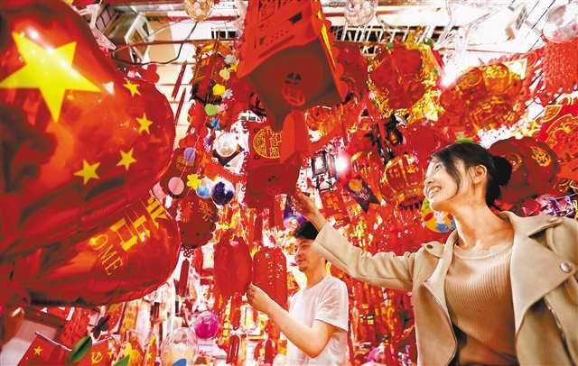节日饰品市场喜庆气氛浓